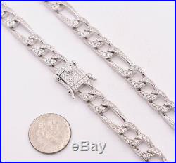 8mm Figaro Link Chain Cubic Zirconia Necklace Real Solid Sterling Silver 925 24