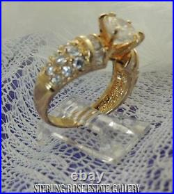 9 mm CUBIC ZIRCONIA Sterling Silver 0.925 VERMEIL Estate Engagement RING size 8