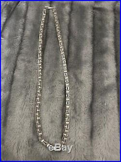 925 SOLID Sterling Silver Cage Chain Mens Cubic ziconia Stones