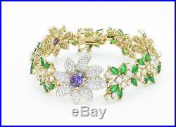 925 Silver Amethyst Peridot & Cubic Zirconia Floral Chain Bracelet B5858