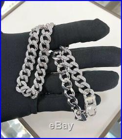 925 Silver Cuban Choker With Cubic Zirconia Stones