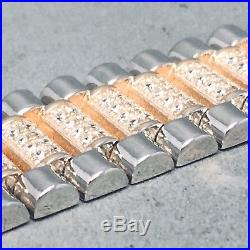 925 Silver Cubic Zircon Rose Gold Gilding Micro Pave Watch Strap Bracelet 1479