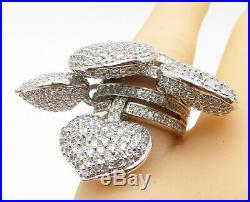 925 Silver Cubic Zirconia Encrusted Love Hearts Statement Ring Sz 7 R10390