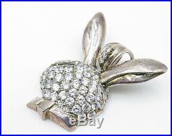 925 Silver Vintage Cubic Zirconia Huge Playboy Bunny Drop Pendant P3798