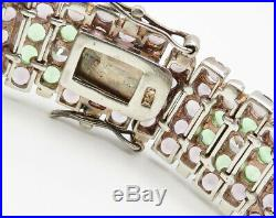 925 Silver Vintage Floral Purple & Green Cubic Zirconia Bracelet B2350