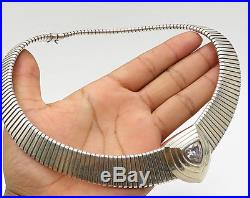 925 Silver Vintage Retro Cubic Zirconia Level Center Accent Necklace N1637