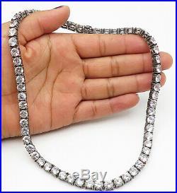 925 Silver Vintage Sparkling Round Cut Cubic Zirconia Tennis Necklace N2038