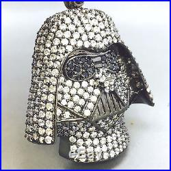 925 Solid Sterling Silver Cubic Zircon Iced-out Darth Vader Head Pendent 736