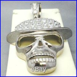 925 Solid Sterling Silver Cubic Zircon Skull Head Biker/goth Pendent 303