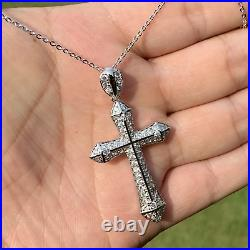 925 Solid Sterling Silver Large Cross Crucifix Cubic Zirconia Necklace Jewellery