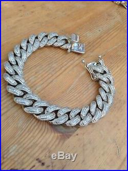 925 Solid Sterling Silver Large Cubic Zirconia CZ Curb Bracelet Iced Out