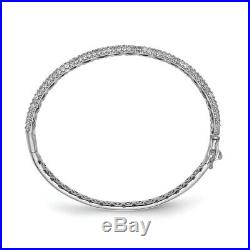 925 Sterling Silver 175 Stone Cubic Zirconia Cz Hinged Bangle Mothers Day Gifts