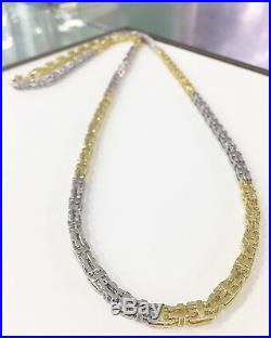 925 Sterling Silver 2 Tone CAGE Chain Gents FULL Cubic Zirconia Stones