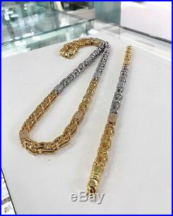 925 Sterling Silver 2 Tone Cube Style CAGE Chain Gents Cubic Zirconia Stones