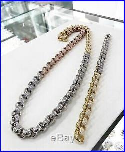 925 Sterling Silver 3 Tone BELCHER Chain Gents FULL Cubic Zirconia Stones