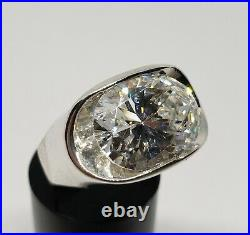 925 Sterling Silver 7.5ctw Cubic Zirconia Large CZ Unique Modern Solitaire Ring