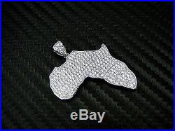 925 Sterling Silver 925 Fancy C. Z Cubics Zirconia Africa Pendant Charm Pave Set