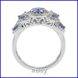 925 Sterling Silver AA Tanzanite Cubic Zriconia CZ Halo Ring Size 8 Ct 2.2