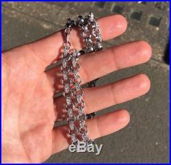 925 Sterling Silver BELCHER Chain Gents FULL Cubic Zirconia Stones