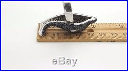 925 Sterling Silver Black Cubic Zirconia Cz Large Big Dolphin Fish Cocktail Ring