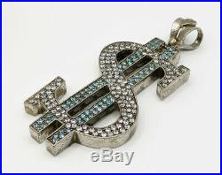 925 Sterling Silver Blue & White Cubic Zirconia Dollar Sign Pendant 44g P2048