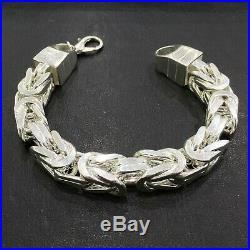 925 Sterling Silver Bracelet Cubic Bali Byzantine Kings Chain solid 14x14mm