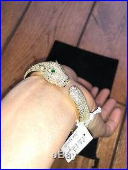 925 Sterling Silver Bracelet Panthere Emerald Cubic CZ Pave Gold Plated Pouch NB