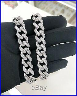 925 Sterling Silver CUBAN Chain Gents Baguette Cubic Zirconia Stones