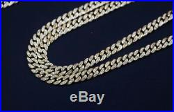 925 Sterling Silver CUBAN Chain Gents Cubic Zirconia Stones Yellow Gold Finish