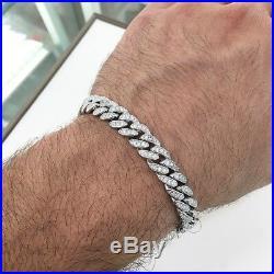 925 Sterling Silver Cuban Style Bracelet Gents FULL Cubic Zirconia Stones