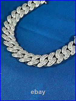 925 Sterling Silver Cuban Style Bracelet Gents FULL Cubic Zirconia Stones Iced