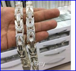 925 Sterling Silver Cubic Bali Byzantine King Chain Necklace very heavy 719g