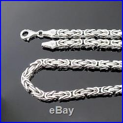 925 Sterling Silver Cubic Bali Byzantine Kings Chain Necklace 0.15 in 21.5 in