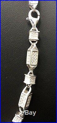 925 Sterling Silver Cubic Zircon 31 Long Little Box-big Box Unisex Chain 1913