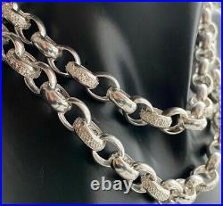 925 Sterling Silver Cubic Zirconia Belcher Chain Necklace 25 Inch 79 grams