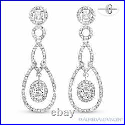 925 Sterling Silver Cubic Zirconia CZ Crystal Halo Pave Dangling / Drop Earrings