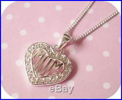 925 Sterling Silver Cubic Zirconia CZ'MUM' Heart Pendant Necklace Gift Boxed