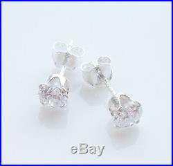 925 Sterling Silver Cubic Zirconia CZ Round Ear Stud Earrings Studs 4mm