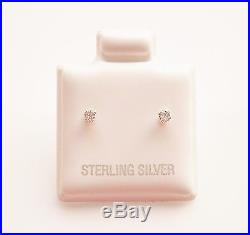 925 Sterling Silver Cubic Zirconia CZ Tiny Round Stud Earrings 2mm