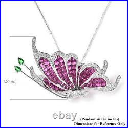 925 Sterling Silver Cubic Zirconia CZ with Chain Butterfly Necklace 18 Ct 23.6