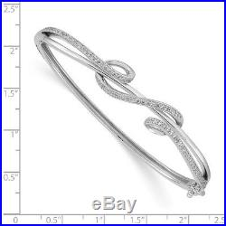 925 Sterling Silver Cubic Zirconia Cz Bangle Bracelet Cuff Expandable Stackable