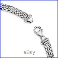 925 Sterling Silver Cubic Zirconia Cz Link Mesh 17.75in Chain Necklace Pendant