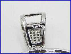 925 Sterling Silver Cubic Zirconia Dapper Smoking Scull Drop Pendant P1023