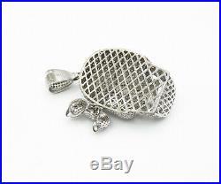 925 Sterling Silver Cubic Zirconia Encrusted Skull Head Drop Pendant P10046