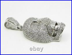 925 Sterling Silver Cubic Zirconia Heart Shaped Nose Skull Drop Pendant P1032