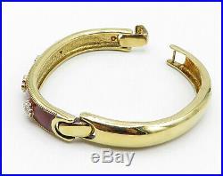 925 Sterling Silver Cubic Zirconia Red Enamel Gold Plated Cuff Bracelet- B4034