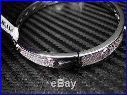 925 Sterling Silver Cubic Zirconia Round Cut Micro Pave Men Bangle/bracelet