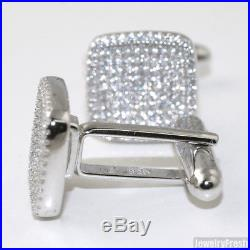 925 Sterling Silver Cubic Zirconia Square Mens Cufflinks