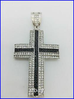 925 Sterling Silver Cubic Zirconia Stones Rhodium Finished Large Cross Men's C