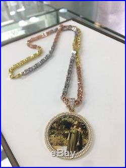 925 Sterling Silver Customized Picture Pendant With Cubic Zirconia Stones